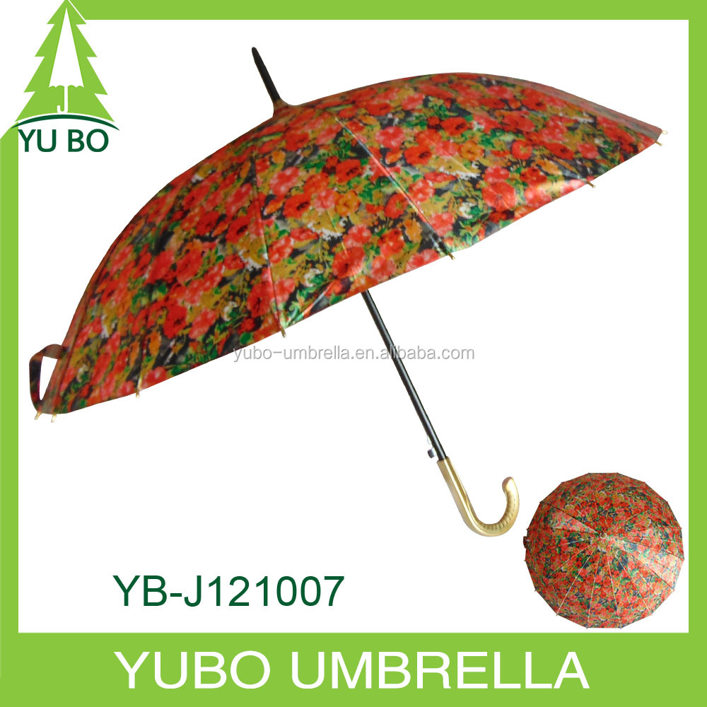 16 ribs satin fabric waterproof sublimation straight outdoor umbrella
