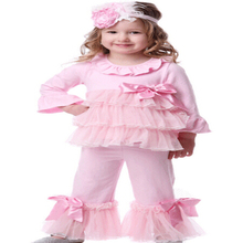 Wholesale kids trendy ruffle pink children clothing High Quality fall kids clothing