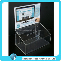 perspex suggestion box with sign hoder, small acrylic customized donation box transparent cash box