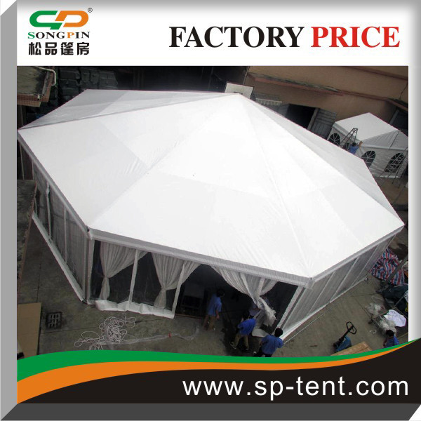Big size white Octagonal dome Circus Tents with Transparent PVC walls and inner linings