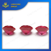 loose gemstone 5# red color round shape synthetic ruby rough prices