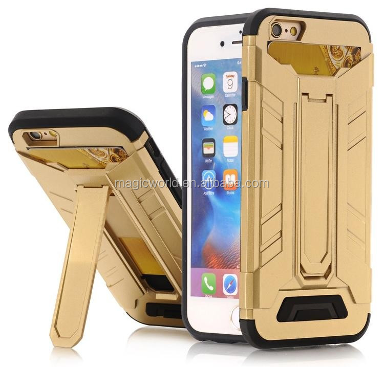 Hottest Phone Case For iPhone 7, Kickstand TPU Plastic Card Slot Metal Brushed Armor Phone Case