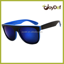 Custom printed plastic wholesale sunglasses blue frame sunglasses out door sports sun glasses