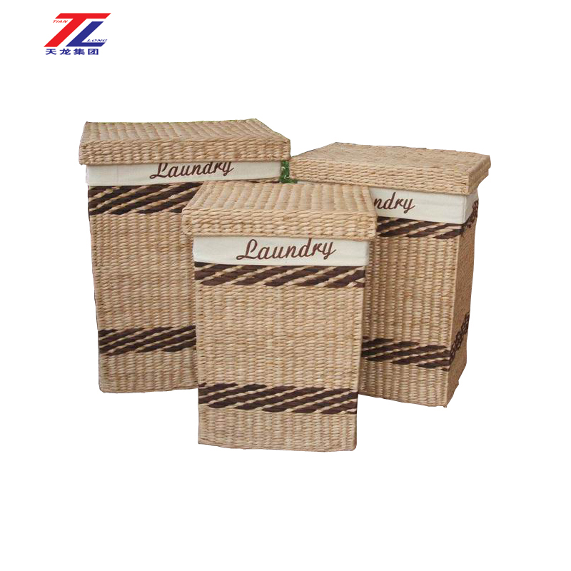 wholesale dirty clothes laundry basket hamper hot sale handmade straw fabric covered storage box for lining fabric