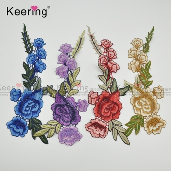 Fashion wholesale iron on China embroidery patch flowers for cloth WEF-449
