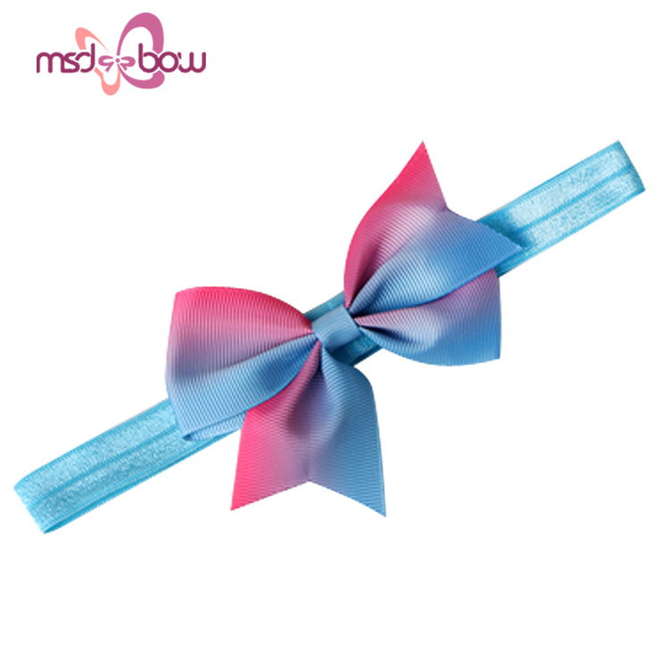 Custom printed kids blue pink stretch grosgrain bow headbands for baby girls