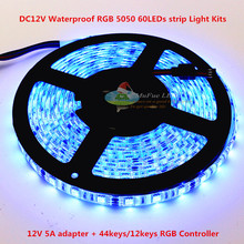 waterproof IP65 12v 60LED 5050 RGB led strip 5meter +44keys controller+12V 5A power supply kits