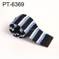 New design fashion knitted necktie china multicolor black white and blue stripe ties pt6369