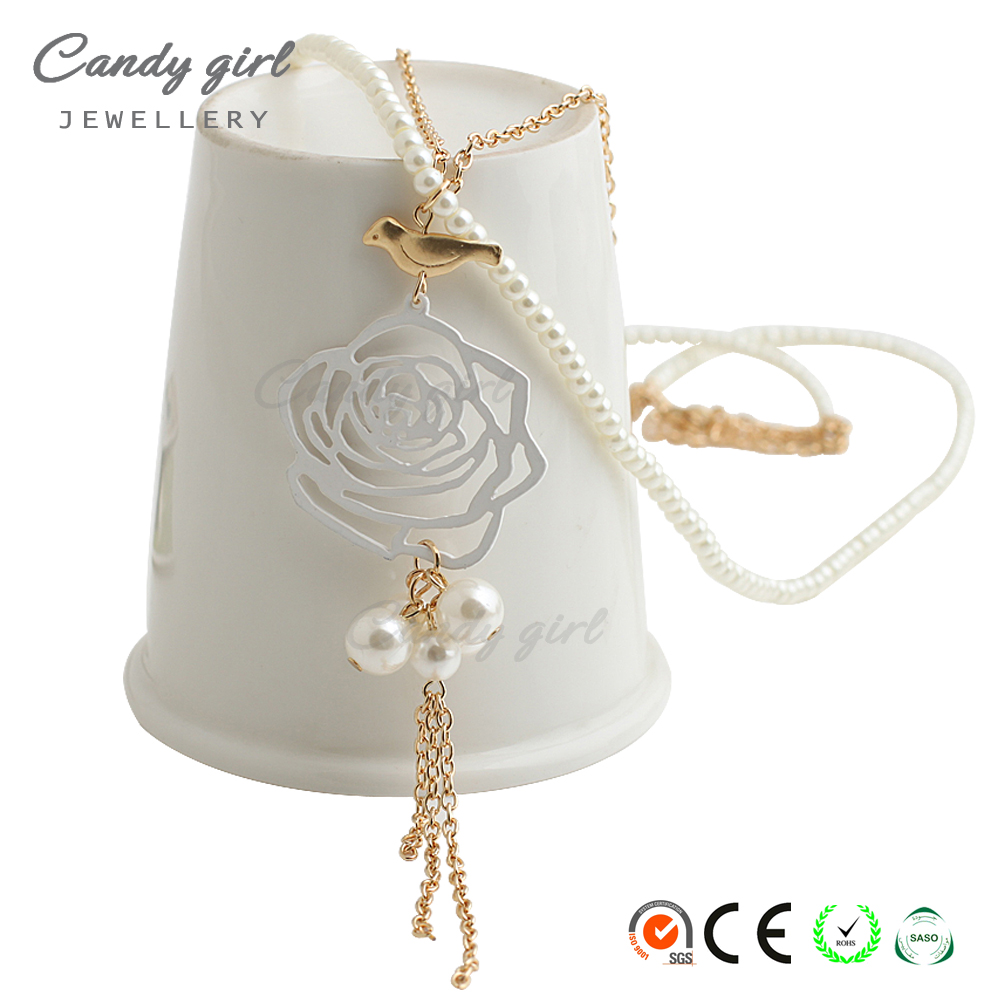 Candygirl brand women fashion vintage jewelry silver color engagement bead chain necklace