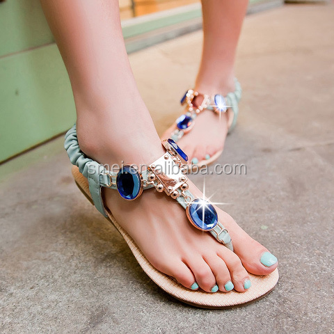 Casual Artificial Stones and Flat Heel Design Thong <strong>Sandals</strong> For Women