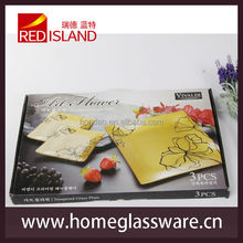3 pcs tempered glass plates set,tempered glass dinnerware set