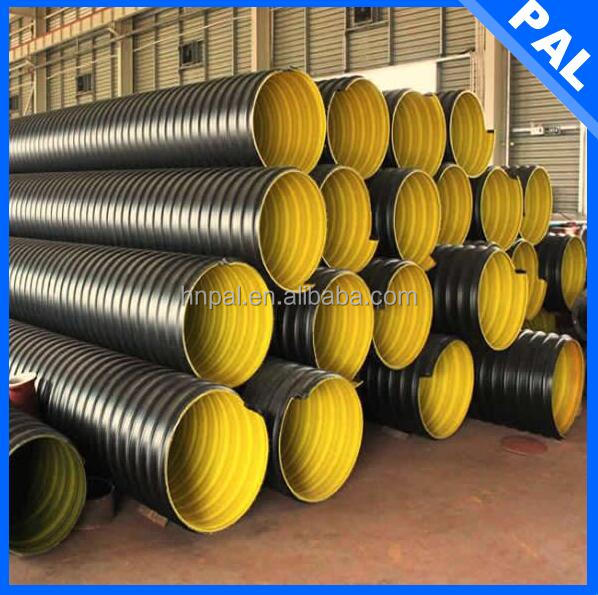 PE100 material Anti-aging double wall corrugated pipe production line with dia 225mm