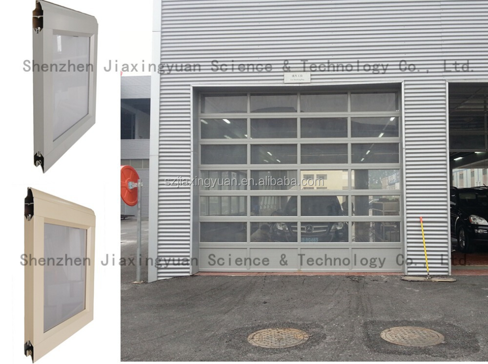 Commercial aluminum full view clear glass garage door