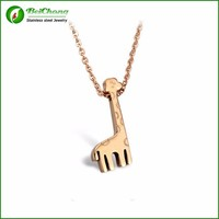 Cute boy and girl ANIMAL Stainless Steel Necklace Rose Gold Plated Giraffe pendant necklace BP-0018