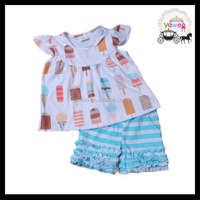 2016 yawoo kids wear online shopping ice cream stick clothing for children summer ruffle shorts newborn baby sets clothes