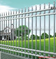 2015 new products of double top rails decorative wrought iron fence, spear top metal fence, steel fence