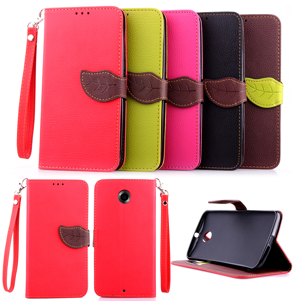 Wallet Design PU Leather Mobile Phone Case Cover Stand Card Holder for Motorola Moto Nexus 6