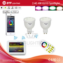 2.4g rf mando a distancia regulable + mi light 2.4g wifi controller + 2x rgbw 2.4g bombilla 4 w Ampolleta led gu10