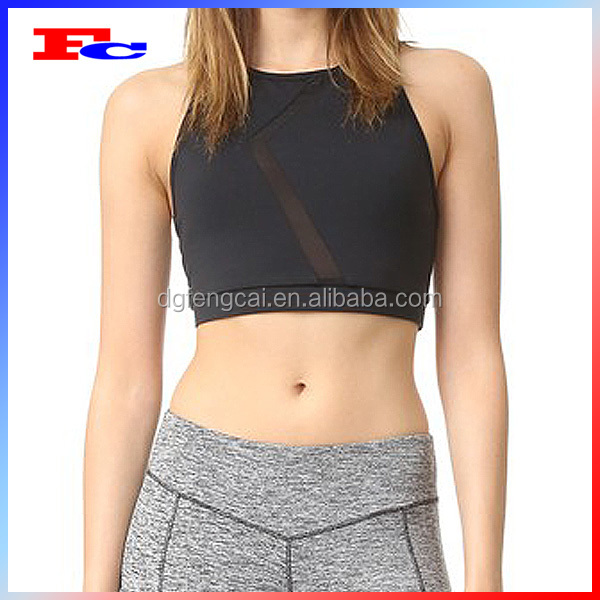 Plain Black Sexy Fitness Mesh Insert Cheerleading Sports Wear Racer Mesh Back Crop Bra Top with Padded