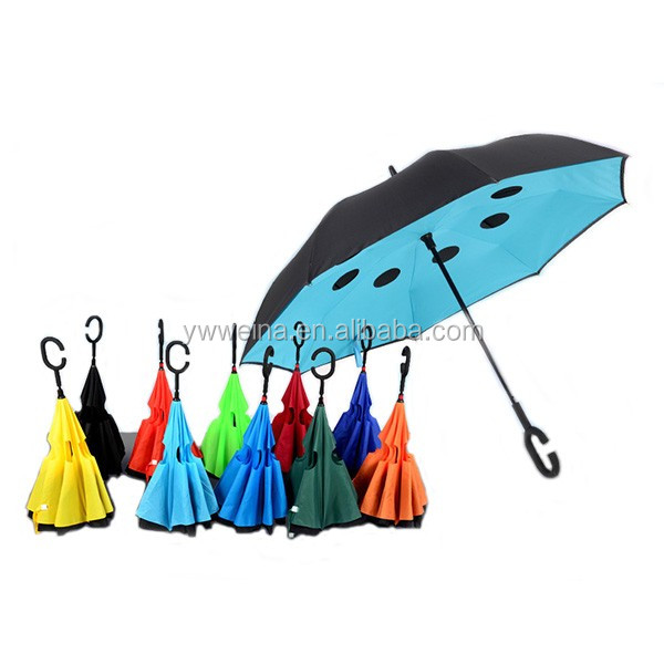 Double Layer C Shape Handle Windproof Inverted Umbrella