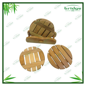 4 pcs Round bamboo coffee cup mat