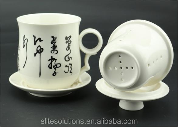 Alta calidad taza de t de cer mica con filtro infusor y for Tazas de te con tapa