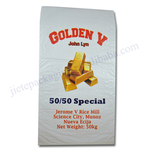 Discount golden printing white pp woven basmati rice bag 50kg export packing bag
