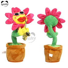 Funny Speaker Music Flower Pot Touch Plant Singing and Dancing Saxophone Sunflower Soft Plush Flower