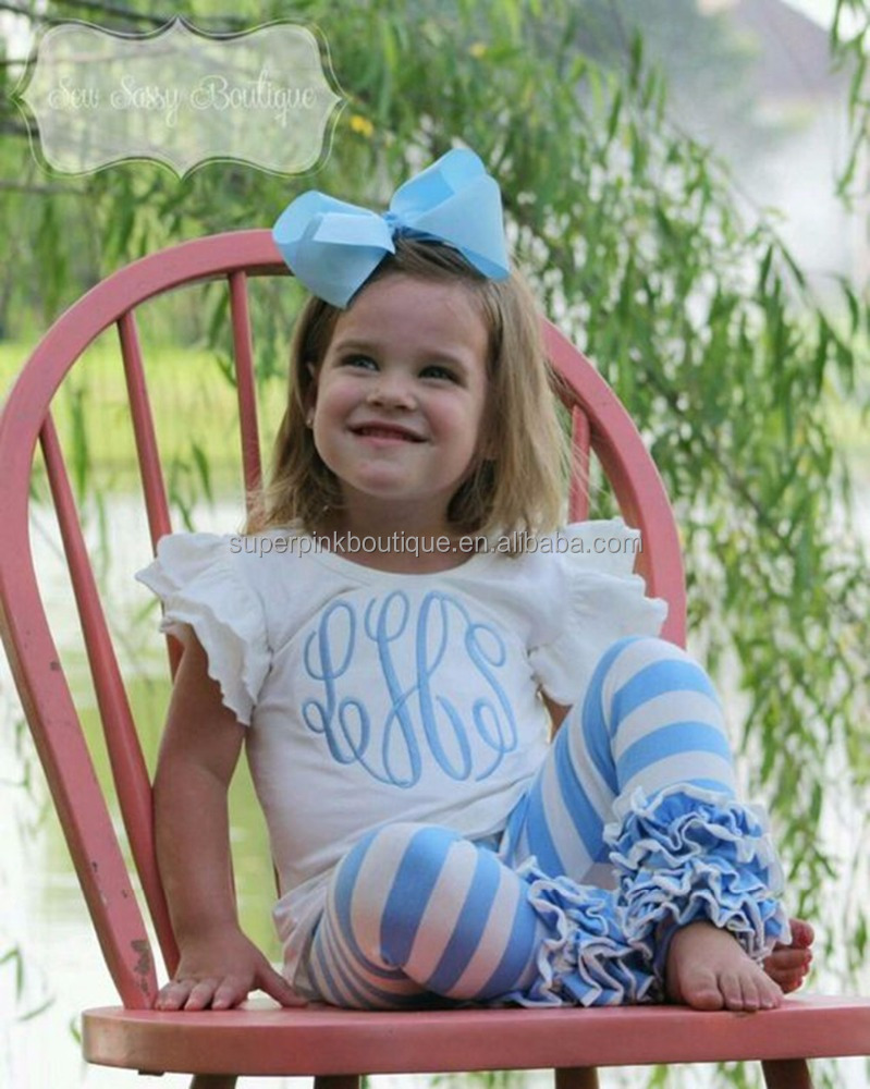 2017 summer spring new baby boutique girls blue and white stripe icing outfits