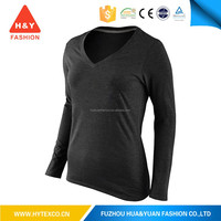 Womens v neck wholesale slim fit black t shirts - 7 years alibaba experience