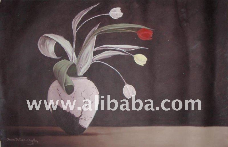 African Oil Painting (Flora and Pot)
