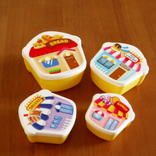 Cute girl Microwaveable Single Layer Cartoon Plastic Meal Bento Food Container Lunch Box Tableware 4 pcs Small Snack Box