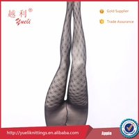Fancy mature women black nylon silk temptation stockings