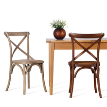 American Countryside Dining Chair,Old Solid Wooden Cross Back Cafe Chair with Rattan Seat