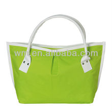 Nice nylon green women cutom tote bag,nylon handbag for lady