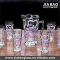 7pcs new design colorful flower beautuful glass drinking set