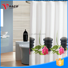 Fashion beautiful flower printing retractable bathroom shower curtain