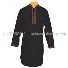 Blue and Black Kurta Shalwar Designs for Men with heavy embroidery