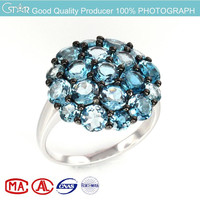 2015 hot item sterling silver 925 natural london blue topaz ring round stone MOQ 30pcs