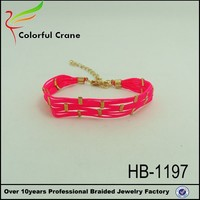 fashion braided pink rope bracelet silk cord cheap friendship bracelets