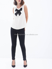 Zippered bow front fashion top