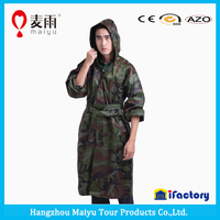 High quality camo nylon military rain coat poncho for man