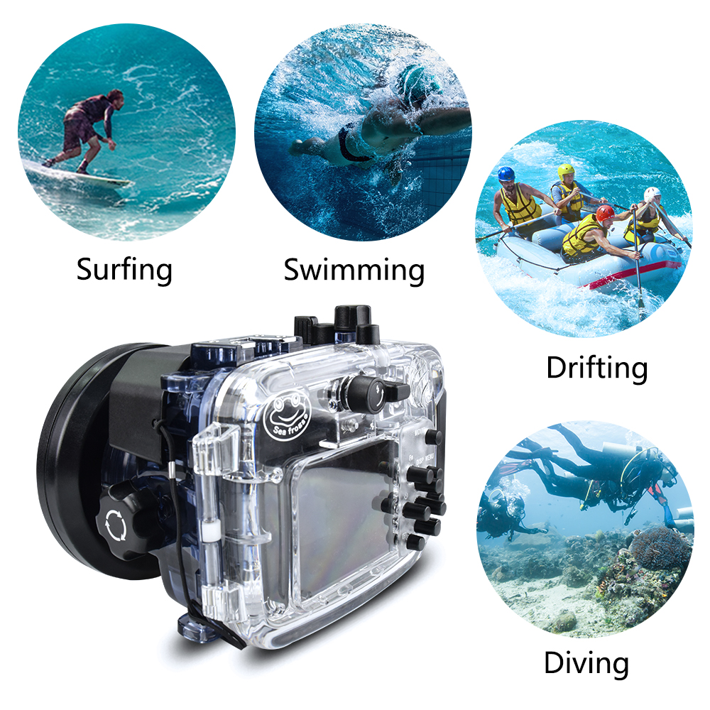 60m  195ft Depth Underwater Swimming Diving Case Waterproof Camera bag Housing case for Camera