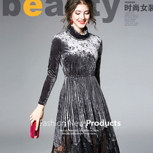 high quality ladies Large Size dress women lady spring autumn clothing waist slimming pleuche long sleeve maxi dresses