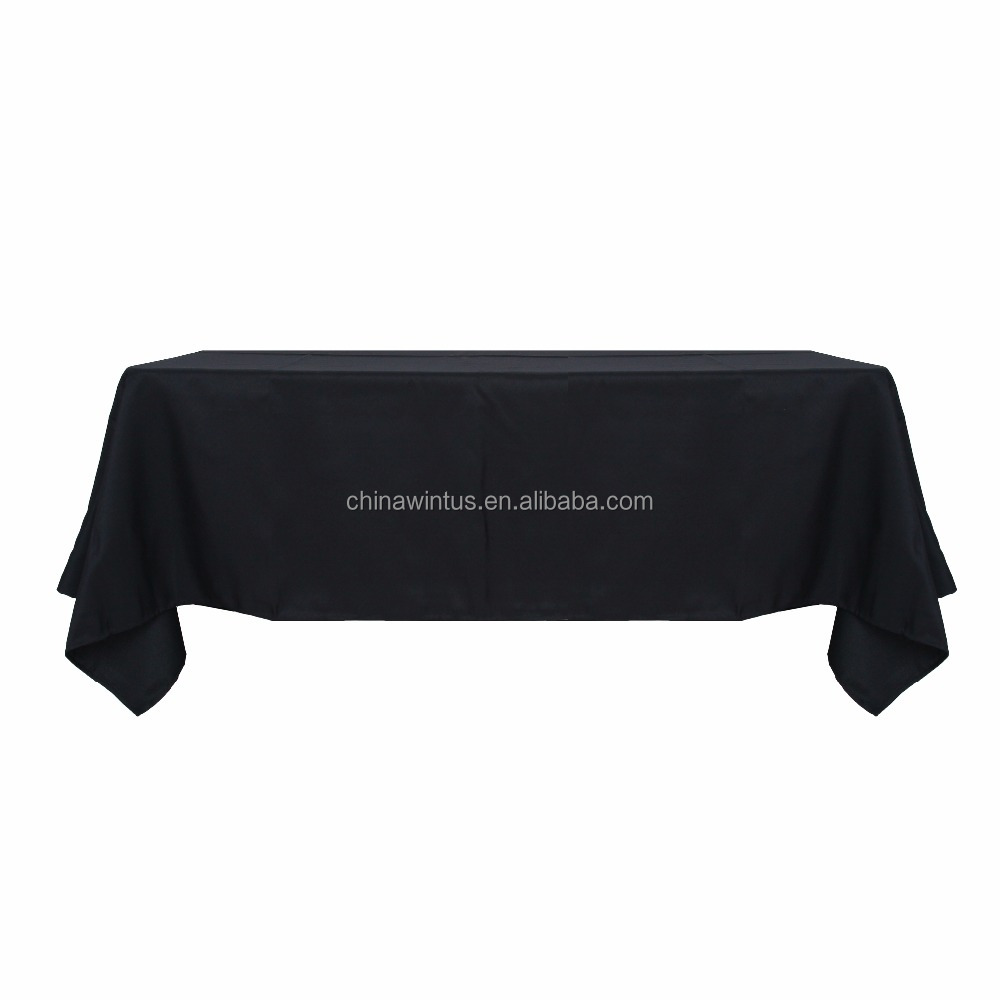 Factory sale Black 90*132 Inch polyester Table cloth,Home,Party,Banquet,Hotel,Outdoor Use and Woven Technics table cloth