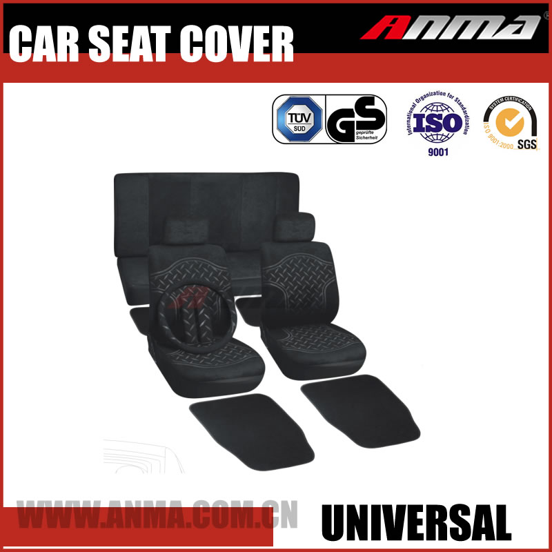Comfortable polyester black car seat covers with steering wheel cover kits