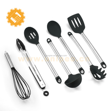 Cooking Utensils Stainless Steel and Silicone Cooking Utensil Set 7 Piece Kitchen Utensils
