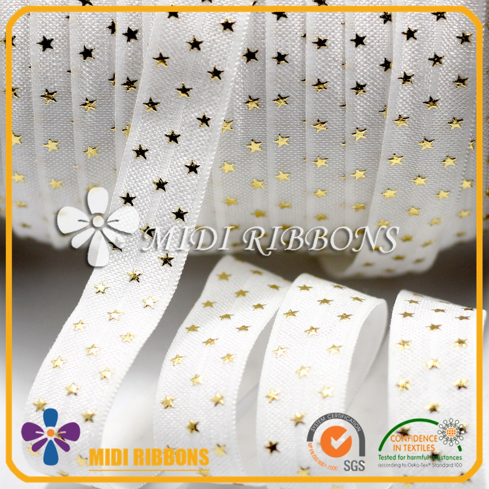 Discount promotion 15mm little star foil print fold over elastic ribbon ,elastic band in stock