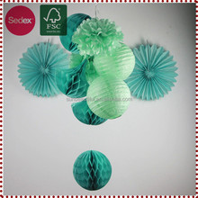 Stage Decoration Ideas Paper Fan Honeycomb Lantern as Party Themes