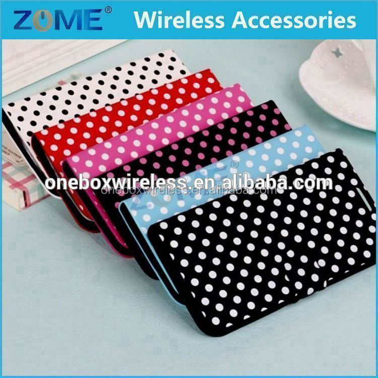 Shenzhen Newest For Samsung S4/I9500 Lovely Polka Dots Girls Leather Flip Wallet Stand Case With Card Slots